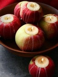 autumn: tea lights in apples @Jennie McKelvey