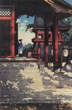 Japanese Art Print - Meguro Fudo Temple by Kawase Hasui Japanese Painting, Chinese Painting, Chinese Art, Japan Illustration, Art Asiatique, Art Japonais, Japanese Prints, Japan Art, Woodblock Print