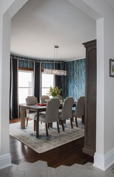 DVI Lighting - VIMY RIDGE - Trendy flooring and modern wallpaper for a heritage Colonial style home Modern Colonial, Colonial Style Homes, Scott Mcgillivray, Dining Room, Dining Table, Modern Wallpaper, Competition, Colour, Flooring