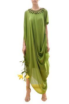 Buy Cowl draped asymmetric dress by Urvashi Joneja at Aza Fashions New Dress Pattern, Gown Pattern, Dress Patterns, Indian Fashion, Boho Fashion, Fashion Dresses, Kurta Designs, Blouse Designs, Indian Designer Outfits