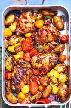 Amatriciana chicken traybake recipe - BBC Good Food - Inspired by the classic Italian pasta sauce, chicken thighs and new potatoes are flavoured with bacon and tomato in this easy one-pan meal Bbc Good Food Recipes, New Recipes, Cooking Recipes, Healthy Recipes, Roast Recipes, Recipies, Small Food Processor, Fodmap Recipes, Italian Recipes