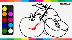 Drawing & Coloring Apples For Kids - Red And Green Apple Fruits | Abidza...