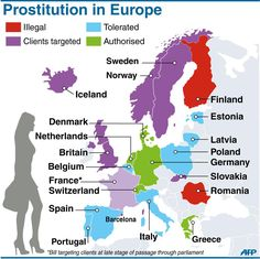 A map of European countries indicating their approach to prostitution