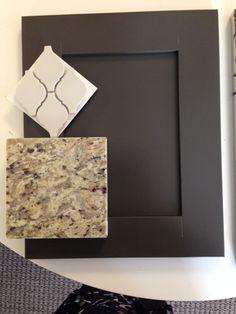 "New Venetian Gold granite, grey backsplash, Behr ""Peppery"" painted cabinet"