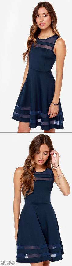 Final Stretch Navy Blue Dress
