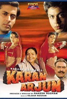 Directed by Rakesh Roshan. With Rakhee Gulzar, Salman Khan, Shah Rukh Khan, Amrish Puri. Karan and Arjun reincarnate in the different parts of the country. But the faith of their previous mother brings them together in order to avenge their death. Bollywood Action Movies, Hindi Bollywood Movies, Bollywood Posters, Bollywood Cinema, Bollywood Actors, Bollywood Party, Hindi Movie, Bollywood Celebrities, Salman Khan