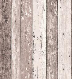Papel pintado efecto madera - listones shabby chic marrones - 40535