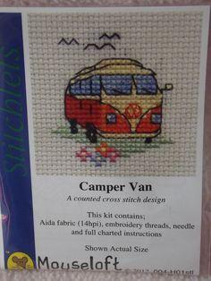 MOUSELOFT STITCHLETS CROSS STITCH KIT ~ CAMPER VAN ~ CREAM/ORANGE ~ 004-H01stl