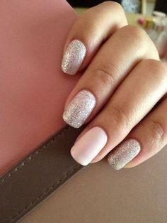 Nude & Glitter Wedding Nails for Brides / http://www.himisspuff.com/wedding-nail-art-desgins/3/