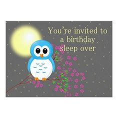 Birthday Sleepover with Owl Personalized Invitation