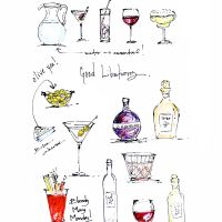 """""""Good Libations"""" is another one of my quick sketches that was doodled while I was on the phone."""