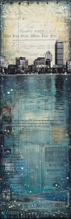 Across the Charles No. 1 paper print mixed media by maechevrette, $40.00