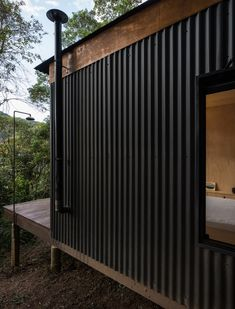The Brazil based architecture firm, Silvia Acar Arquitetura, were responsible for the design of this small forest cabin. Dubbed Chalet M, the cabin can be House Cladding, Metal Cladding, Metal Siding, Barn Siding, Metal Roof, Cabin Design, House Design, Casas Containers, Shed Homes