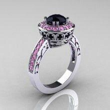 White gold,pink and black wedding ring