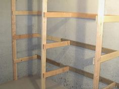 """One of my goals for 2014 is to organize the basement. To do this, I wanted to add shelving in the future """"storage area"""" of our basement. Basement Storage Shelves, Room Shelves, Storage Room, Shelving, Garage Cabinets, Stables, Ladder Decor, Woodworking, Diy"""