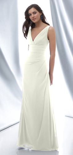 Wtoo Style 620 Bridesmaid Dress. Crinkle chiffon V-neck dress with side drapes. 135 - Candlelight