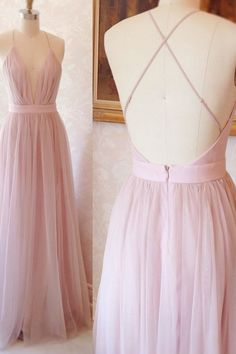 Silhouette:A Line, Neckline:V Neck, Hemline/ Train:Floor-Length, Fabric:Tulle, Sleeve Length:Sleeveless, Embellishment:<br>, Back Details:Other, Shown Color:Pink, Style:Elegant & Luxurious, Waist:Natural, Season:Spring, Summer, Fall, Winter, Wedding Venues:Party, Prom - Wisebridal.com