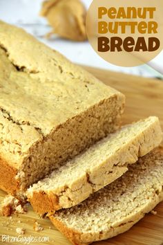 Peanut Butter Bread - Only 6 ingredients and so easy and quick to bake! Goes… Peanut Butter Bread - Only 6 ingredients and so easy and quick to bake! Goes great with grape jelly, chocolate spread or just plain old peanut butter! Peanut Butter Squares, Peanut Butter Bread, Unique Recipes, Sweet Recipes, Yummy Treats, Delicious Desserts, Baking Recipes, Dessert Recipes, Bread Recipes