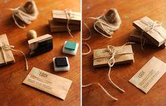 Lots of beautiful handmade business cards.