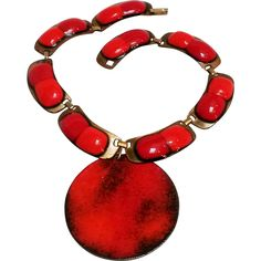Kay Denning enamel on copper choker red cookies