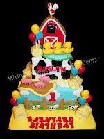 Barnyard Friends 1st Birthday Cake. All Edible