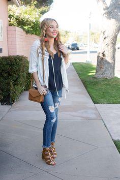 Hannah Hagler | Machine Jeans | Raw Hem Skinny Ripped Jeans | Casual Heels | Fashion Blogger | Denim