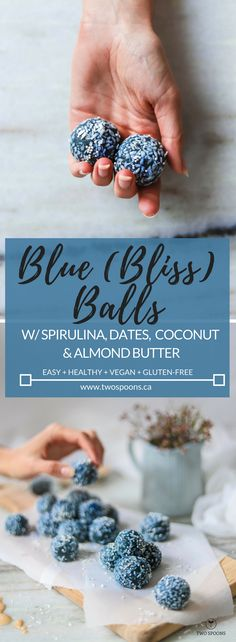 BLUE (BLISS) BALLS! w/ blue spirulina, dates, coconut, and almond butter | Easy, Healthy, Vegan, Gluten-free | TWO SPOONS
