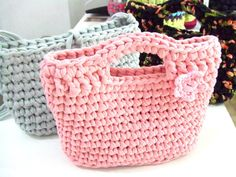 KNITTED BAG - Small bag, Hand bag - t-shirt yarn, recycled yarn, crochet, in pink
