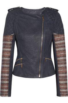 Tweed-trimmed leather biker jacket  by Matthew Williamson