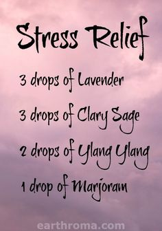 Essential Oil Stress Relief diffuser blend. 3 drops of Lavender essential oil. 3…