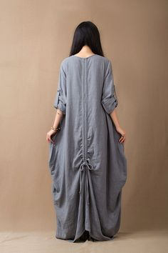 Baggy Muslim Abaya Linen Dress Loose Fit Dress Plus by Royaldress