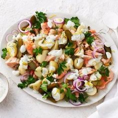 A classic potato salad gets a tasty makeover. Bloody Mary, Vegetable Slice, Vegetable Bake, Salmon Potato, Classic Potato Salad, Onion Relish, Pickled Red Onions, How To Cook Potatoes, Mixed Vegetables