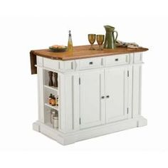 Home Styles Americana White Kitchen Island With Seating at The Home Depot - Mobile Drop Leaf Kitchen Island, Black Kitchen Island, Kitchen Island Cart, Kitchen Island With Seating, Kitchen Islands, Kitchen Carts, Kitchen Storage, Kitchen Cabinets, Pantry Storage