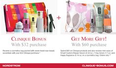 Get More gift with $60 purchase now at Nordstrom. http://clinique-bonus.com/nordstrom/ +Choose up to 3 samples.