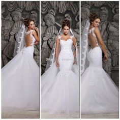Wholesale New Free Shipping 2014 Backless Wedding Dresses Scoop Mermaid Detachable Chapel Train Beaded Lace So Elegant Bridal Gowns Hassan Mazeh W-272, Free shipping, $168.88/Piece | DHgate Mobile