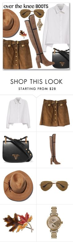 """""""Knee boots"""" by lina-horan69 ❤ liked on Polyvore featuring Y's by Yohji Yamamoto, Gucci, Prada, Sigerson Morrison, Eugenia Kim, Ray-Ban, Anne Klein and Shinola"""