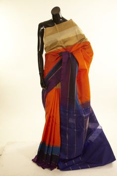 Kancheepuram, Kanjipuram- silk saffron orange saree with blouse