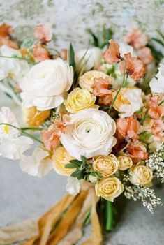 Peach and Pale Yellow Bridal Bouquet Inspiration by Kerry Jeanne Photography Peach Bouquet, Yellow Bouquets, Spring Bouquet, Floral Bouquets, Peach Boutonniere, Yellow Rose Bouquet, Pale Yellow Weddings, Yellow Wedding Flowers, Floral Wedding