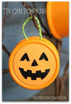 Tin Can Pumpkins for Halloween