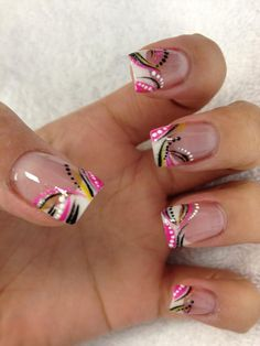 Pink black and white abstract nail art