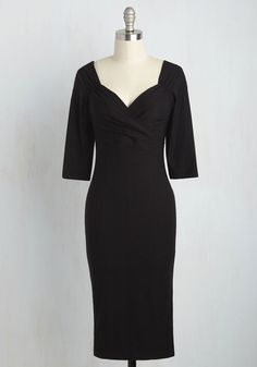Love Ballad Beauty Dress. Who wouldn't want to croon a love song when they see you in this sultry sheath dress? #black #modcloth
