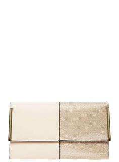 Gold Half Glitter Clutch Bag - Dorothy Perkins