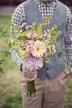 Love a groom in a vest just as much as boho wildflower bouquets #cedarwoodweddings | Bohemian Vintage Wedding Inspiration from Cedarwood Weddings