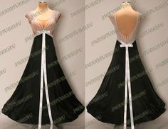 BRAND NEW READY TO WEAR  BLACK SATIN BALLROOM DANCE DRESS SIZE US 4