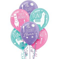 These Llama Fun Balloons come in blue, pink, and purple and feature designs of llamas and headlines such as 'No Drama Llama!' Making your child's llama party colorful will be no prob-llama with these balloons! Birthday Supplies, Kids Party Supplies, 6th Birthday Parties, Birthday Party Decorations, 9th Birthday, Birthday Ideas, Lama Animal, Winter Party Themes, Llama Birthday