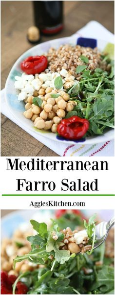 This Mediterranean Farro Salad with Arugula & Chickpeas is a hearty & healthy vegetarian whole grain dish. Great source of protein and fiber! Perfect for Meatless Monday! Recipe via aggieskitchen.com