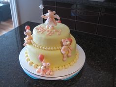 Pink Teddy Bears Baby Shower cake - Hazelnut Genoise with Praline Buttercream with Pralines - Cocoabai Cakes