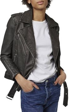 Topshop 'Mahoney' Faux Leather Biker Jacket available at #Nordstrom
