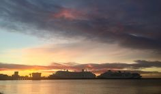 Colours of the Dawn on Melbourne Cup Day. Cruise ships lined up at Station Pier!  Welcome to Melbourne!