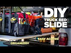 Mike Makes a Rolling Truck Bed Slide 9494951425 Sliding Barn Door Hardware Truck Bed Drawers, Truck Bed Storage, Trailer Storage, Tool Storage, Storage Ideas, Unfinished Basement Storage, Truck Toddler Bed, Fire Truck Bedroom, Truck Bed Slide